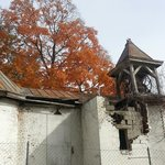 Old church is falling down but the bell is still hanging...