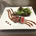 Seared sesame encrusted yellowfin ahi tuna