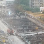 Tube line under construction next to hotel