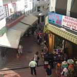 view of some shops up the steps to Torremolinos centre from the beach road