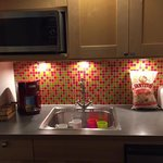 Our little kitchenette...love the colorful backsplash