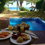 Breakfast by our private pool