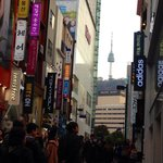 View of Pacific Hotel & N Seoul Tower fm Myeongdong Main St
