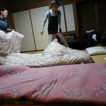 After dinner, staff would come to our room to make the beds for us