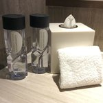Hotel brand water and amenities