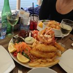 Seafood platter and salt and pepper squid