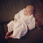 Staff provided our son with his own bath robe!