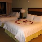 Bed with heart shaped petals
