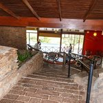 Steps inside the entry of the main lodge