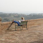 My wife reading on the terrace of Palazzo di Valli.