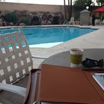 Morning coffee by the pool