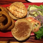 Grilled Chicken Sandwich & Onion Rings (awful tomatoes)