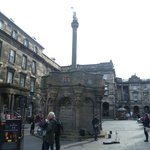 The Mercat cross - not the original site that is at the front of this to the right