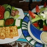 NZ cheese,crackers and pickles platter with a yummy fresh greek salad