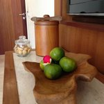 Complimentary fresh fruit and biscuits.