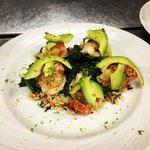 Shrimp stuffed with crab and topped with avocado!