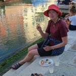 Eating Chichetti on the narrow canal