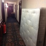 This nice stained mattress was outside my room. It was over the door when we came out. Sure fire