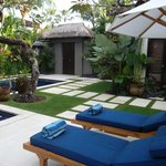 Lounge chairs and garden areas