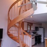 Circular stairs to master bedroom