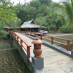 bridge from beach bungalows to restaurant/office area