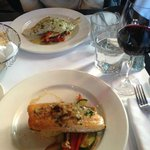Trout Amandine and Pike, both served over vegetables and risotto