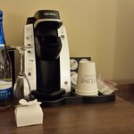 Complimentary wine, chocolates and Keurig coffee