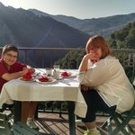 Lucas and Mom on the patio for breakfast
