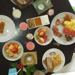 Breakfast spread with an added cooked dish