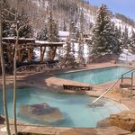 The Antlers at Vail hotel pool is located along Gore Creek and boasts 2 large hot tuns in additi
