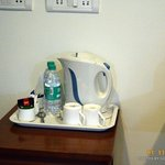 Coffee maker and water in the room
