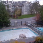 view from our 2nd floor room overlooking pool and year-round hot tub