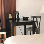 All of our rooms have a refrigerator, microwave, Keurig coffee machine and a table for two.