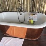 Outdoor copper tub (there is a shower indoo