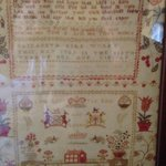 Beautiful antique needlework sampler in family room...from 1789, worked by a 9 year old!