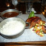 Pork Loin Medallions served with rice and beans