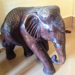large carved elephant in our room