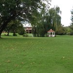 Golf course, weeping willow trees, gazebo