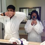bathroom mirror-- robes provided in suite