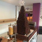 Tower of dried dates on display during breakfast