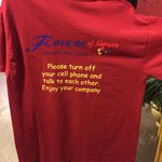 I LOVE the shirts at Flavors.  What a great message for their patrons.