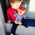 My grandson Quinn with William the Warwick Bear.