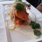our entree - salmon stack - delicious