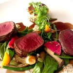 Loin of Venison, Leaves, Red Wine Reduction