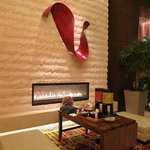 An inviting fire place in the foyer