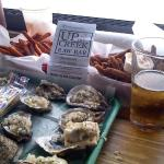 Mignionette oysters, fried green beans, fried sweet potatoes
