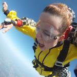 Kayla enjoying the freefall at 125 mph!
