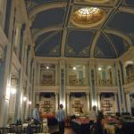 The lovely dining room with its fabulous ceiling