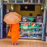 monk seeks daily alms next to hotel