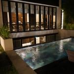 View of pool at night